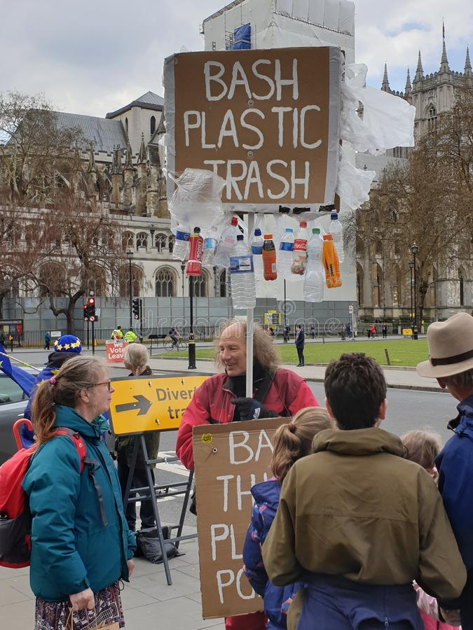 Protester campaigning about plastic waste during the brexit crisis royalty free stock photos