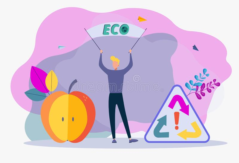 A protester or demonstrator holds a poster or banner. The concept of public protest, rally, street demonstration, civil resistance. Political movement. Save vector illustration