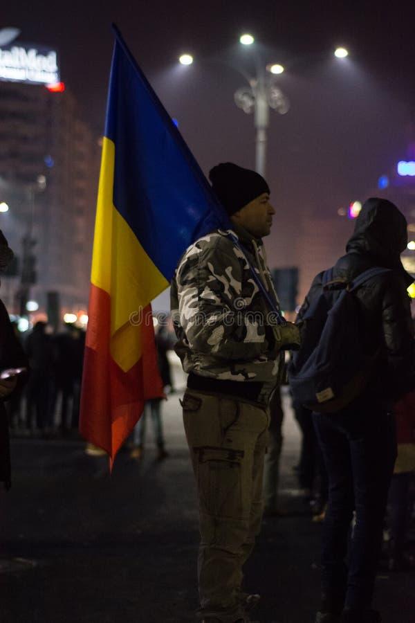 Protester i Bucharest royaltyfri foto