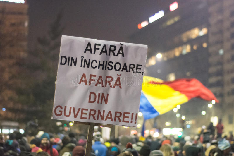 Protester i Bucharest royaltyfri fotografi