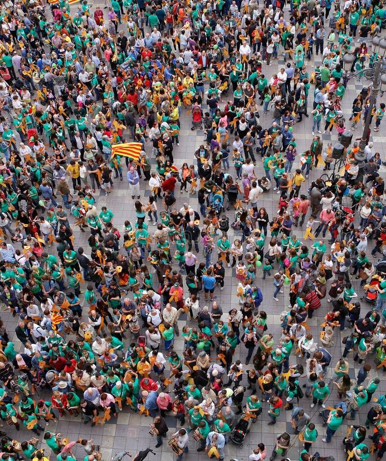 Protestera det pro-catalonia catalan kultur och språket i den spanska ön av Mallorca royaltyfri fotografi