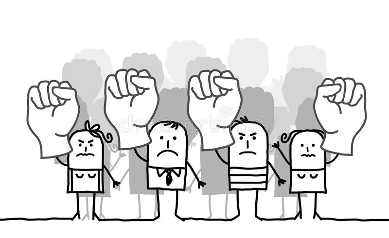 protestera för folk stock illustrationer