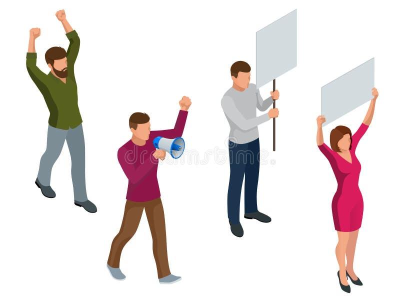 Protestera isometriskt folk med plakatet och megafoner på demonstration Demonstration protest, slagbegrepp vektor illustrationer