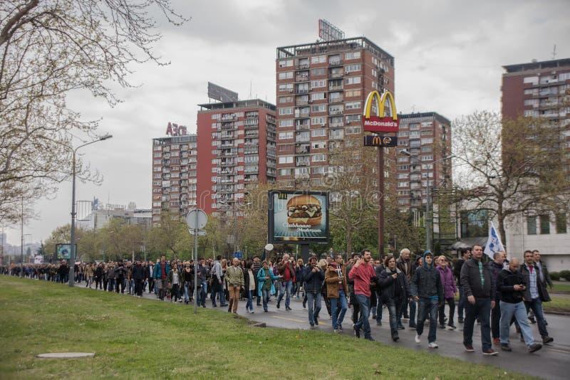Protestera mot val av första Aleksandar Vucic som presidenten, Belgrade arkivfoton