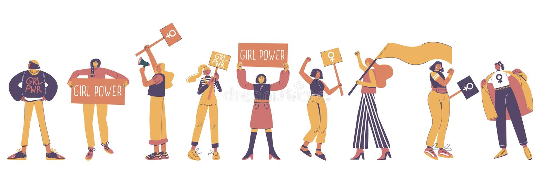 Protestera unga kvinnor, plan isolerad illustration för vektor royaltyfri illustrationer