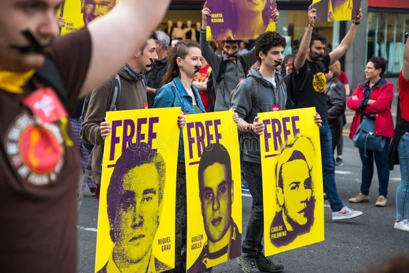 3 protesterare för vänsterorienterad rörelse arkivbilder