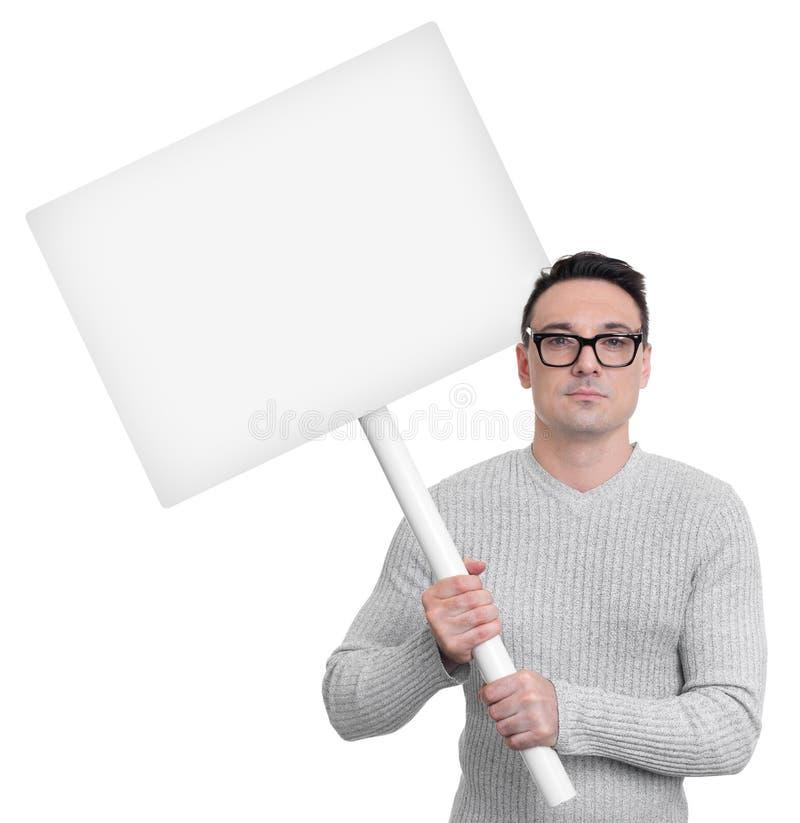 Protesterende persoon met piketteken stock afbeeldingen