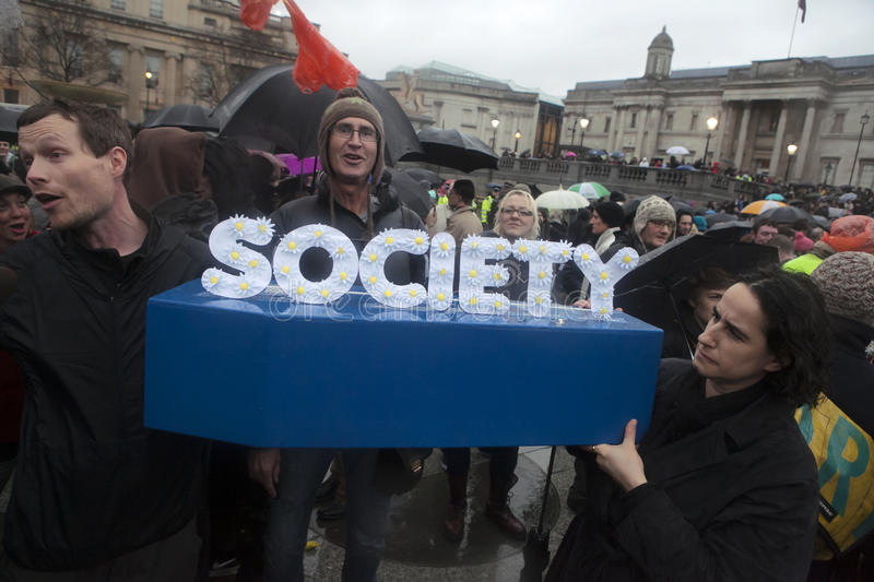 Protesters congregate on Trafalgar Square stock image