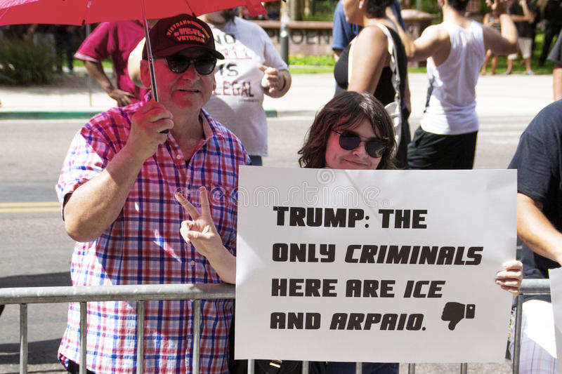 Protesters at Donald Trump's first Presidential campaign rally in Phoenix. Donald Trump held his first campaign rally, since announcing his Republican candidacy royalty free stock images