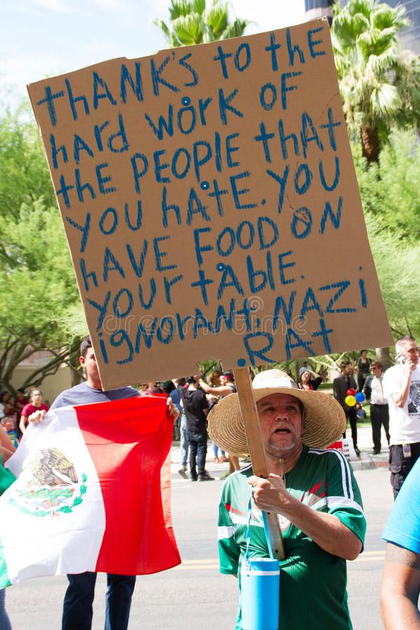 Protesters at Donald Trump's first Presidential campaign rally in Phoenix. Donald Trump held his first campaign rally, since announcing his Republican candidacy stock photo