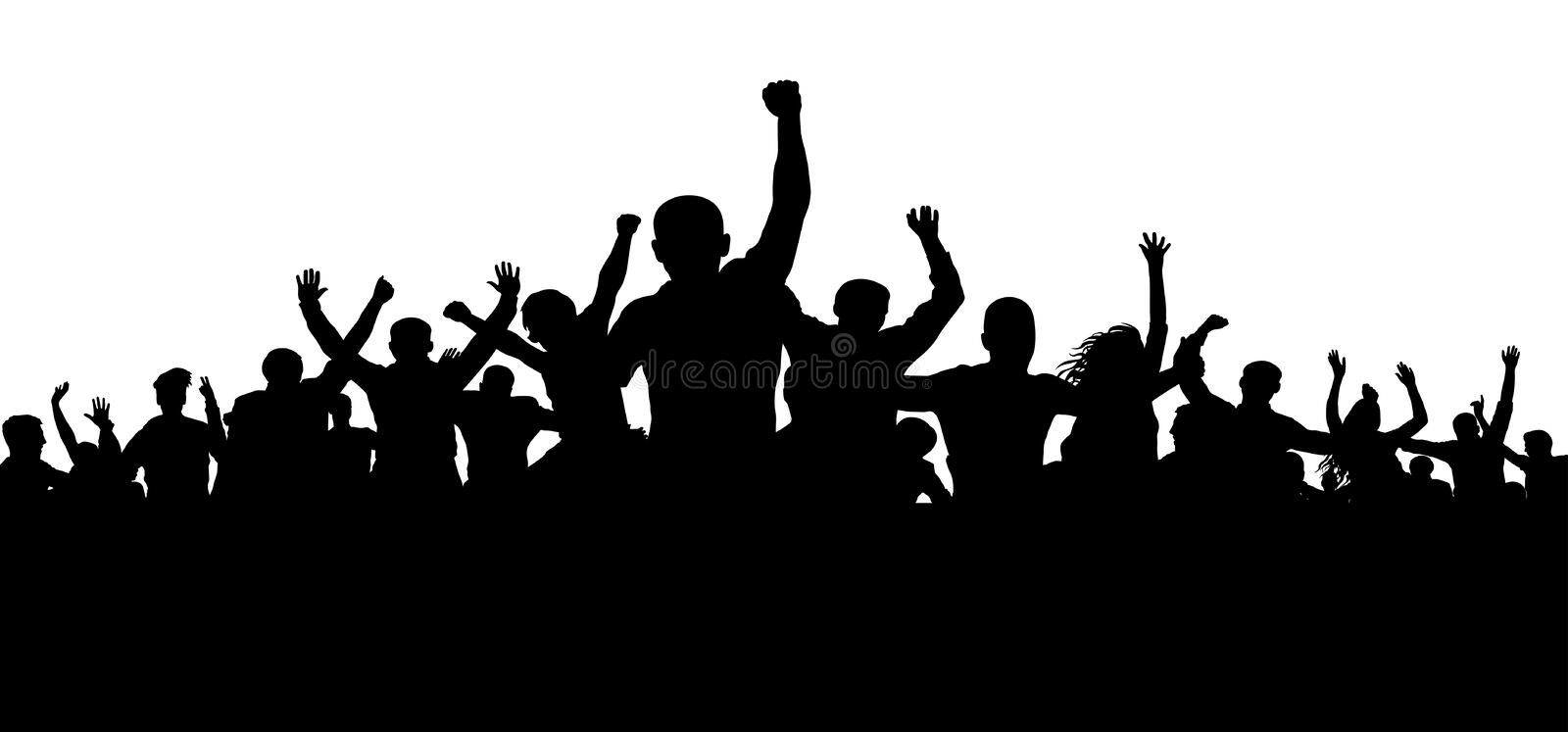 Protesters, enraged crowd of people silhouette vector, angry mob. Protesters, enraged crowd of people silhouette vector, angry mob vector illustration