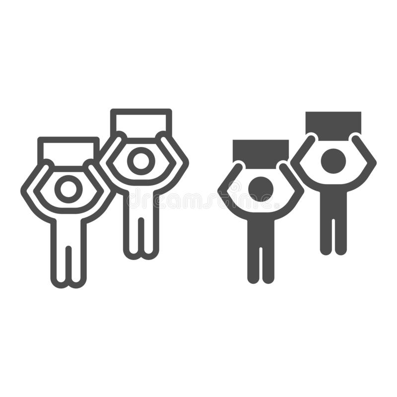 Protesters line and glyph icon. Strike vector illustration isolated on white. People with banners outline style design vector illustration