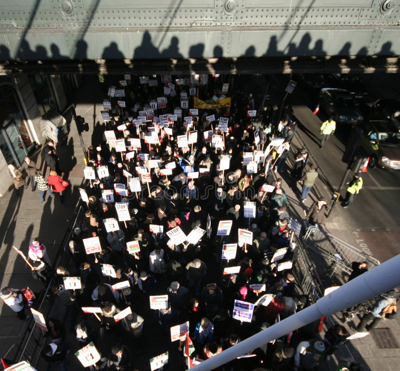 Protesters in London stock images