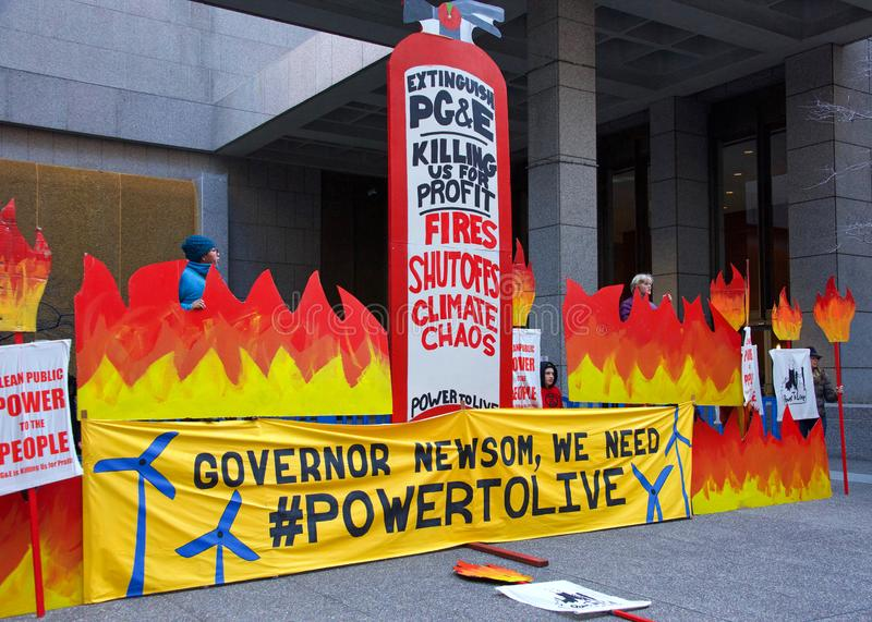 Protesters outside PG&E Corporate offices in San Francisco stock photography