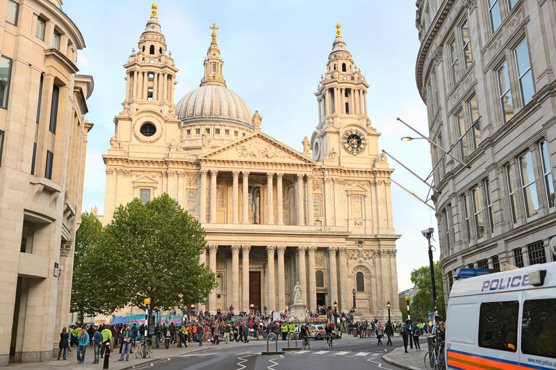 Protesters Outside St Pauls Cathedral, London Editorial Image