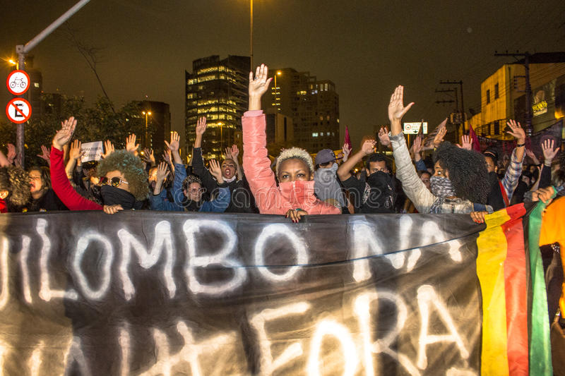 """Protesters. Sao Paulo, Brazil, September 02, 2016. Protesters participating in the protest Fora Temer"""", Out of Temer in portuguese, against to Predident stock photo"""