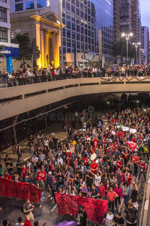 """Protesters. Sao Paulo, Brazil, September 04, 2016. Protesters participating in the protest Fora Temer"""", Out of Temer in portuguese, against to President stock photo"""
