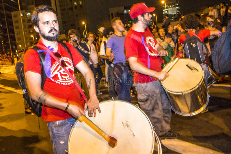 """Protesters. Sao Paulo, Brazil, September 04, 2016. Protesters participating in the protest Fora Temer"""", Out of Temer in portuguese, against to President stock image"""
