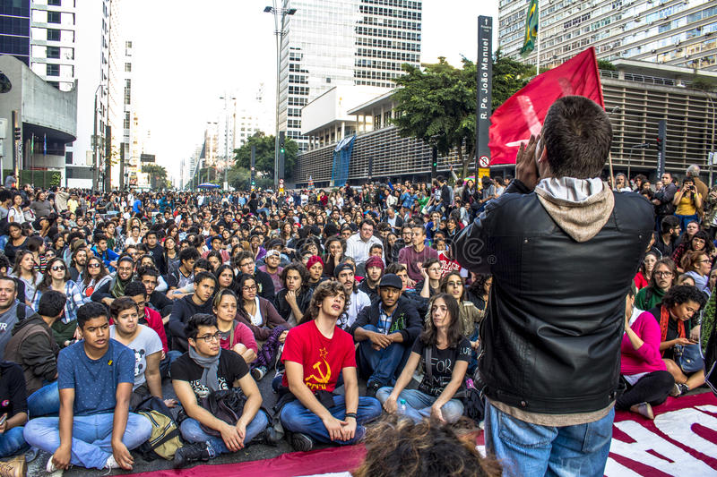 """Protesters. Sao Paulo, Brazil, September 04, 2016. Protesters participating in the protest Fora Temer"""", Out of Temer in portuguese, against to President royalty free stock photo"""