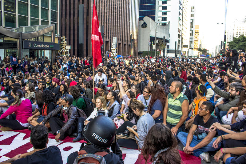 """Protesters. Sao Paulo, Brazil, September 04, 2016. Protesters participating in the protest Fora Temer"""", Out of Temer in portuguese, against to President stock photos"""