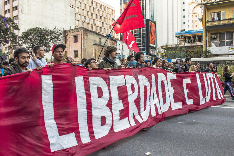 """Protesters. Sao Paulo, Brazil, September 04, 2016. Protesters participating in the protest `Fora Temer"""", Out of Temer in portuguese, against to President stock photos"""