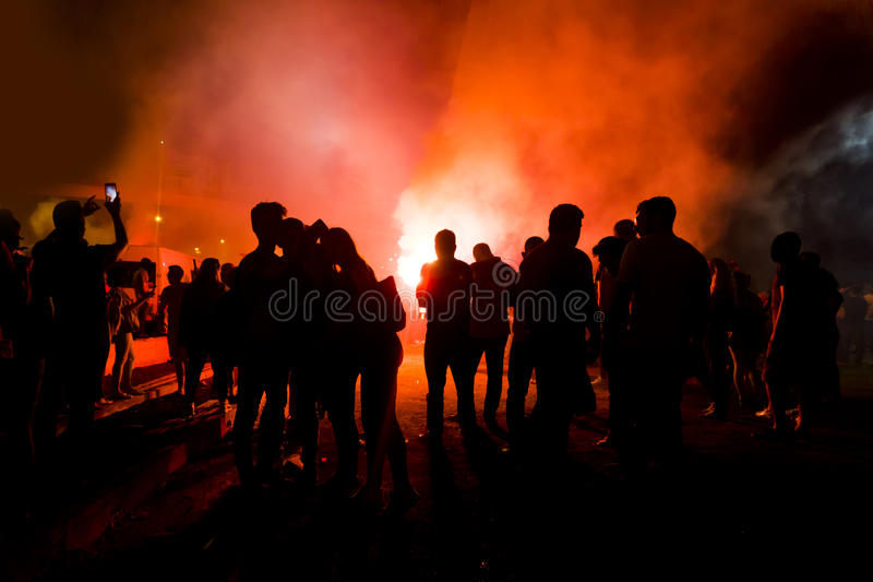 Protesters Silhouettes. Silhouettes Of Protesters with fire royalty free stock photos