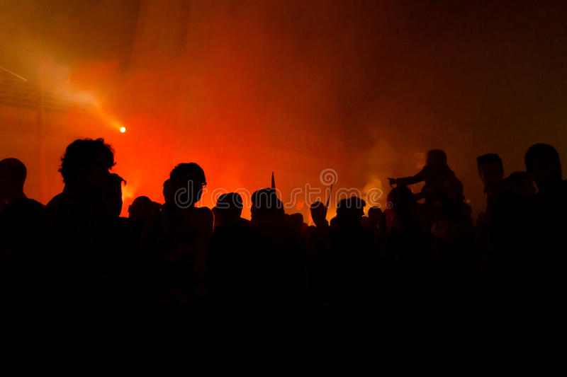 Protesters Silhouettes. Silhouettes Of Protesters with fire stock photos