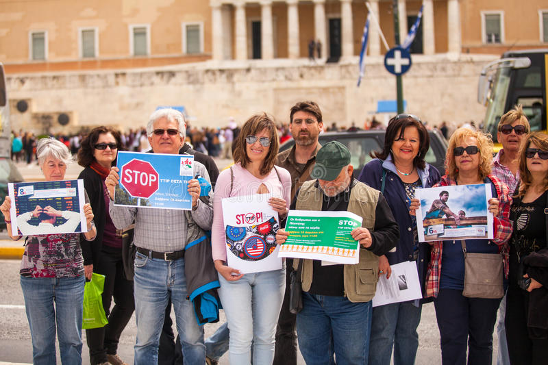 Protesters during the World Day of Action against TTIP CETA TISA, (Transatlantic Trade and Investment Partnership) in Athens stock photography