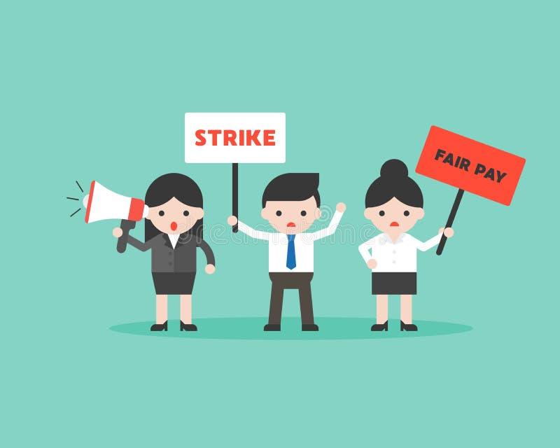 Protestez l'homme d'affaires et la femme d'affaires, conjoncture économique prête illustration de vecteur