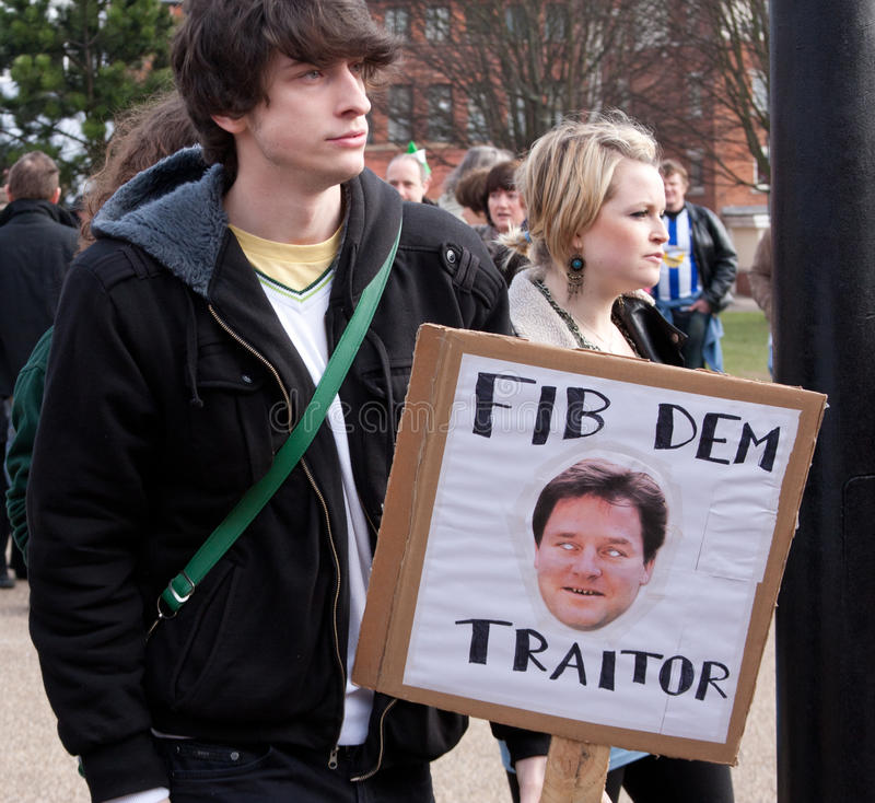 Protestez La Conférence BRITANNIQUE De LibDem ; Coupures Condamnées Photo stock éditorial