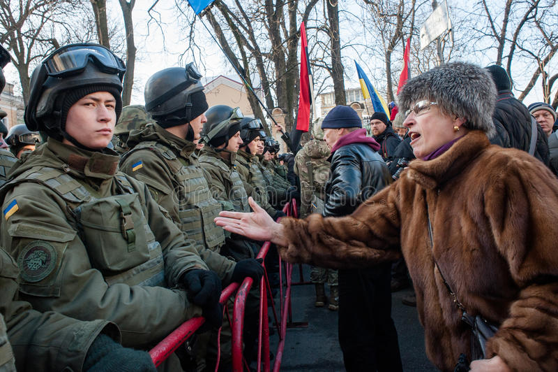 Protesthandlingen i centrala Kyiv royaltyfria bilder