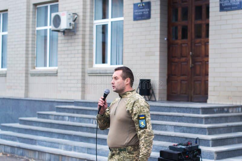 Protesti l'azione nella città ucraina nella regione di Cerkasy il 2 ottobre 2017 fotografie stock