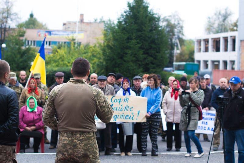 Protesti l'azione nella città ucraina nella regione di Cerkasy il 2 ottobre 2017 fotografie stock libere da diritti
