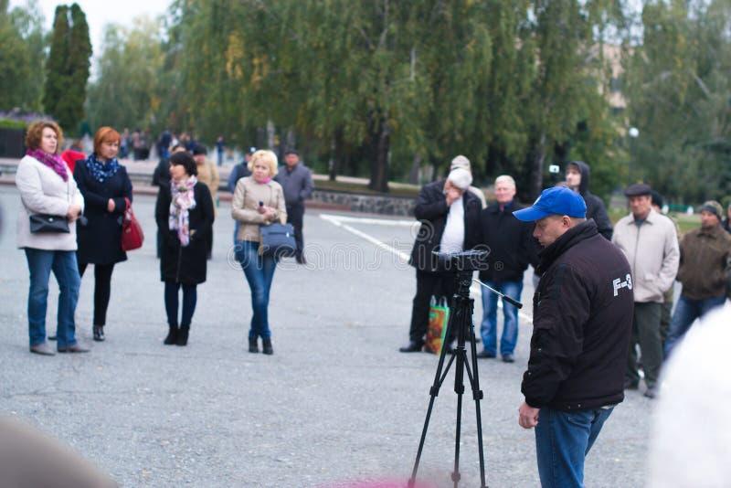 Protesti l'azione nella città ucraina nella regione di Cerkasy il 2 ottobre 2017 fotografia stock libera da diritti