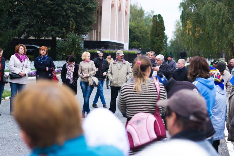 Protesti l'azione nella città ucraina nella regione di Cerkasy il 2 ottobre 2017 immagine stock libera da diritti
