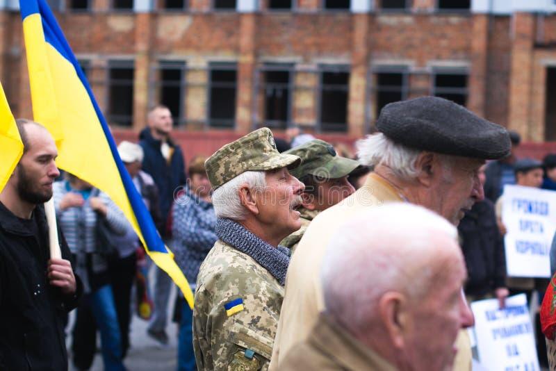 Protesti l'azione nella città ucraina nella regione di Cerkasy il 2 ottobre 2017 immagini stock libere da diritti