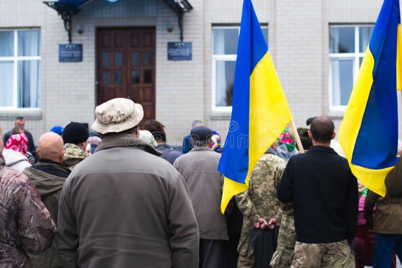 Protesti l'azione nella città ucraina nella regione di Cerkasy il 2 ottobre 2017 fotografia stock