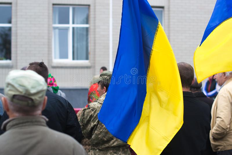 Protestieren Sie Aktion in der ukrainischen Stadt in der Cherkasy-Region am 2. Oktober 2017 lizenzfreie stockfotos