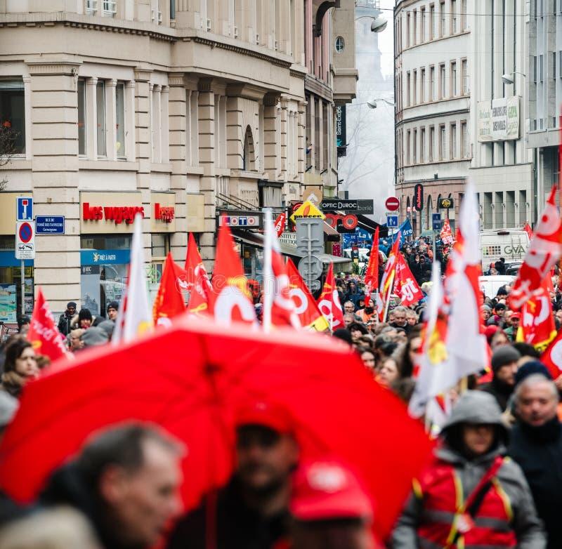 Protestieren Sie gegen französische Regierungsschnur Macron von den großen Reformen lizenzfreies stockbild