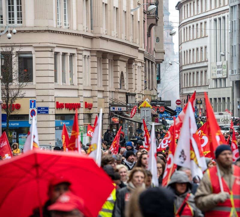 Protestieren Sie gegen französische Regierungsschnur Macron von den großen Reformen stockbilder