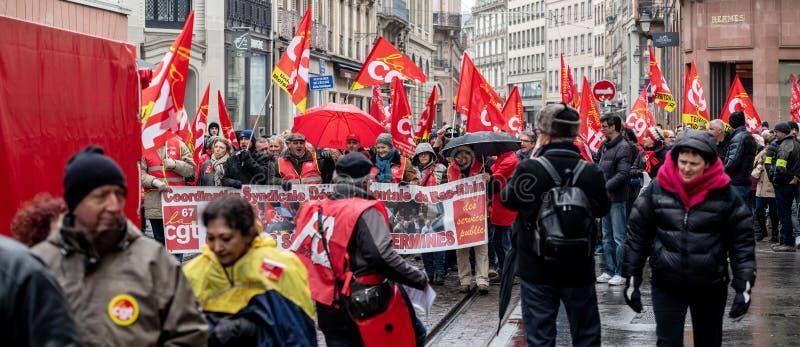 Protestieren Sie gegen französische Regierungsschnur Macron von Reformen centr lizenzfreies stockbild