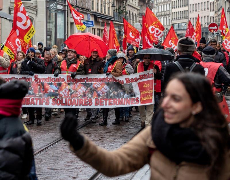 Protestieren Sie gegen französische Regierungsschnur Macron von Reformen centr lizenzfreie stockbilder