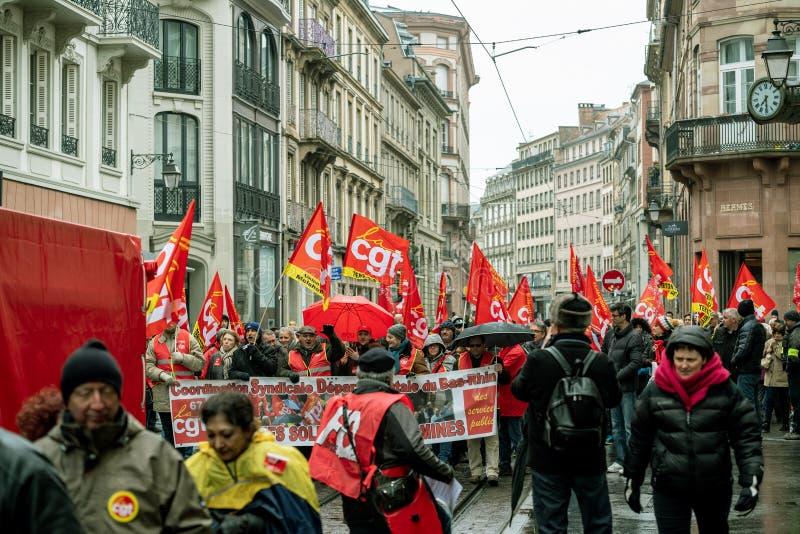 Protestieren Sie gegen französische Regierungsschnur Macron von Reformen centr lizenzfreie stockfotos
