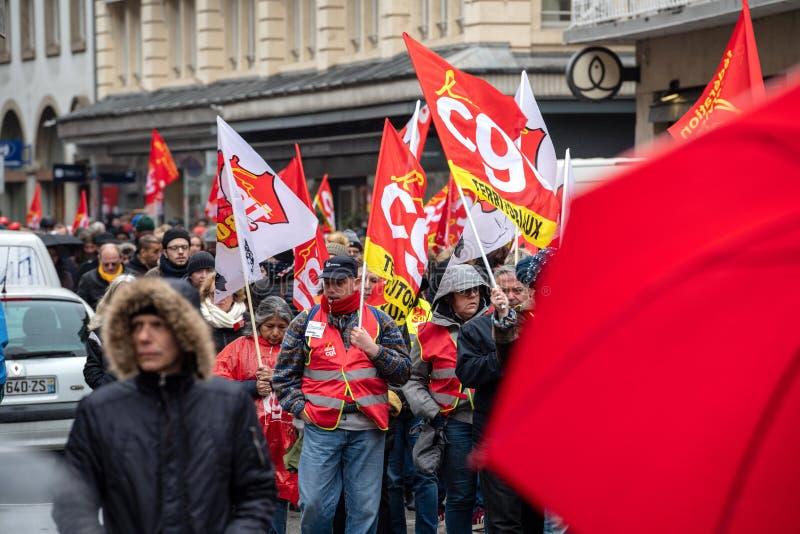 Protestieren Sie gegen französische Regierungsschnur Macron von Reformen peopl stockfoto