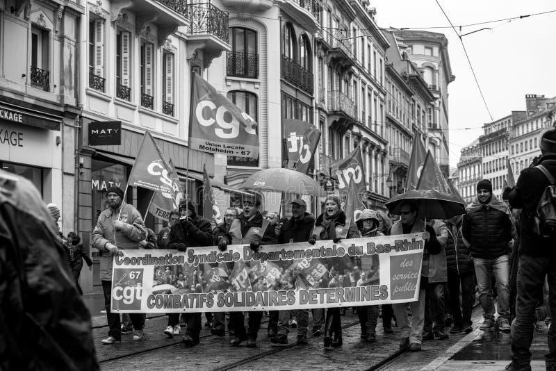 Protestieren Sie gegen französische Regierungsschnur Macron von Reformen peopl lizenzfreies stockfoto