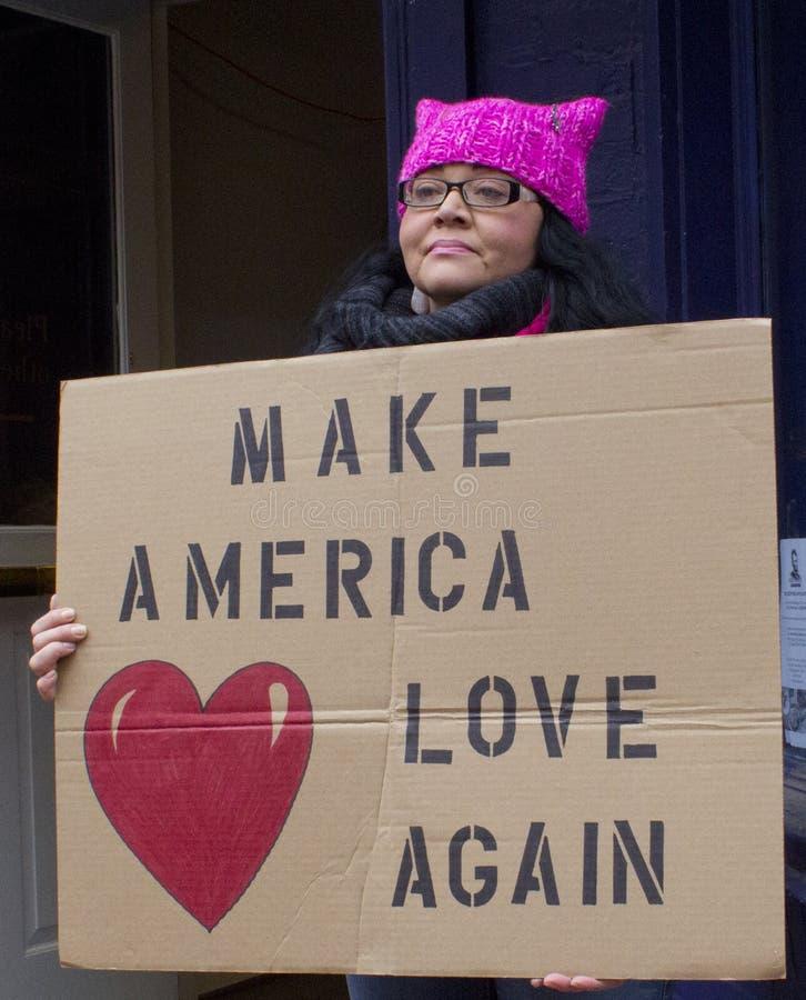 Protestierender außerhalb Donald Trump-` s Einweihung 2017 stockbild