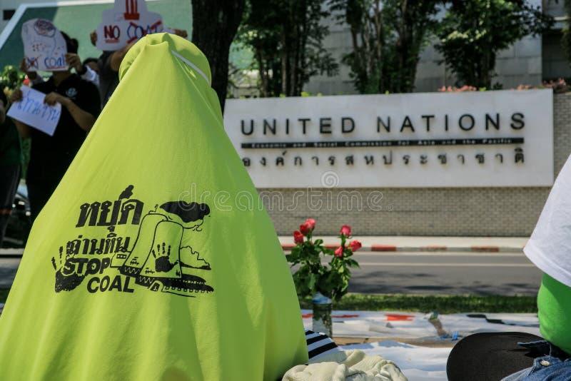 Protestierender des kohlebeheizten Kraftwerks in Thailand lizenzfreie stockfotografie