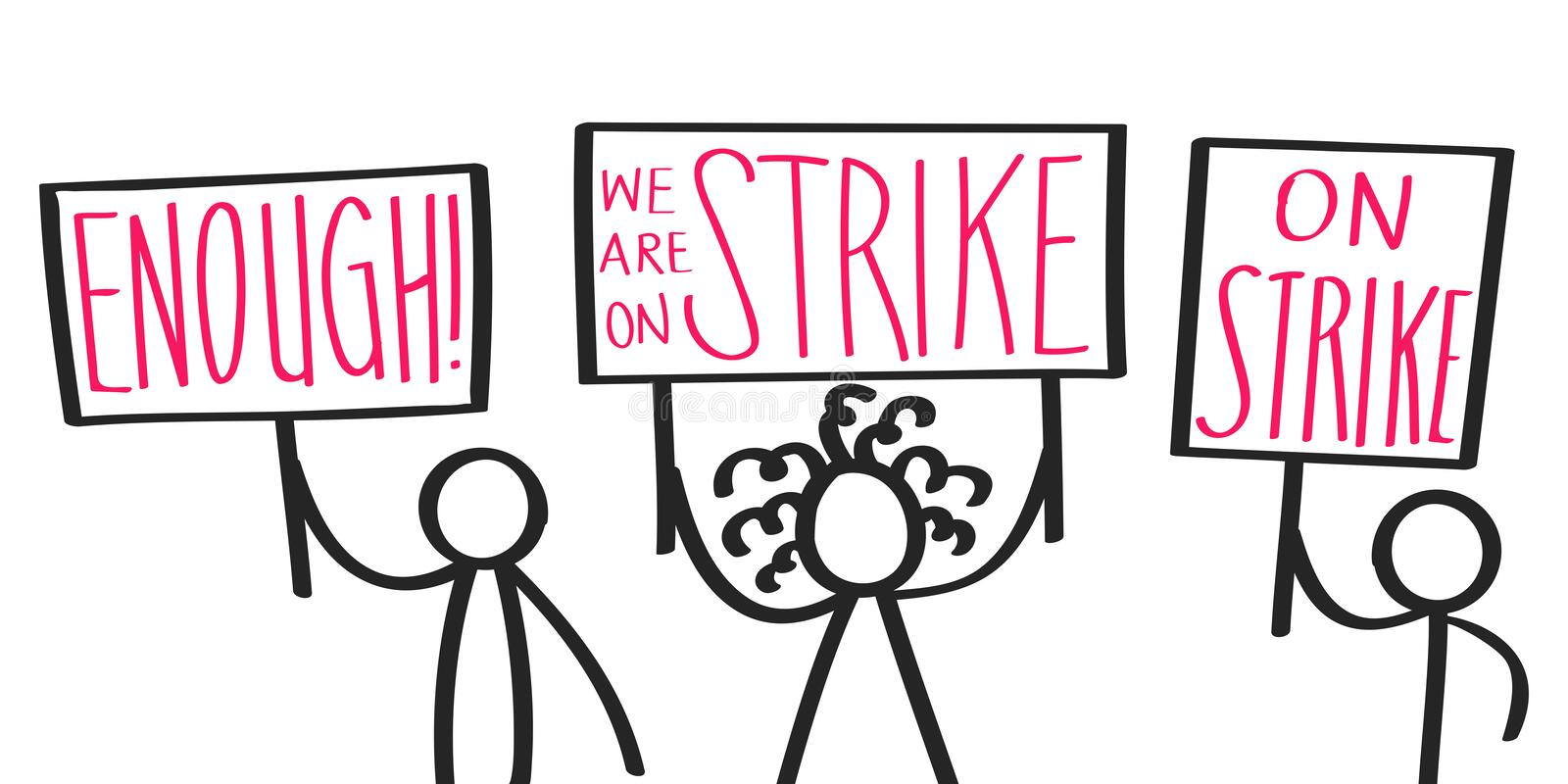 Protesting cartoon stick figures holding up signs saying ON STRIKE, ENOUGH, striking activists stock illustration