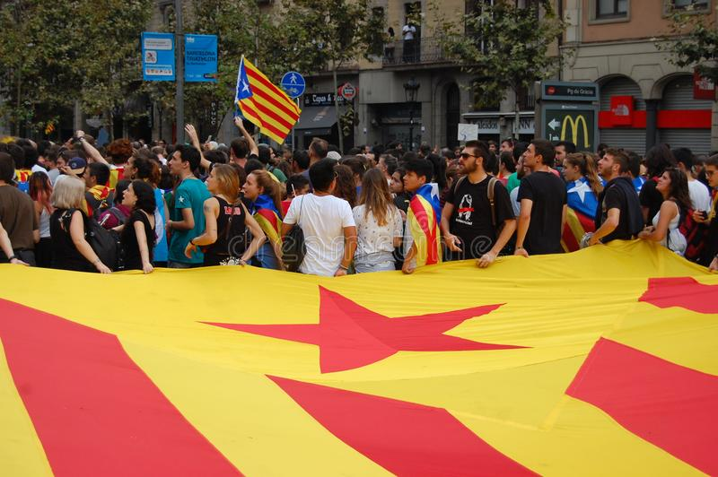 Protests for Catalan Indipendence. Catalonia Referendum: people prostesting in the streets of Barcelona. October 2017. Protesting in Catalonia. People occupied stock image