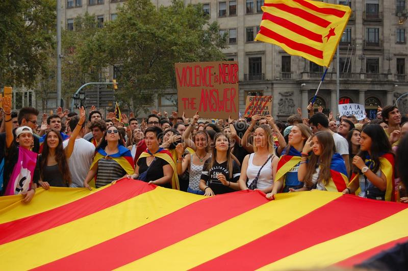 Protests for Catalan Indipendence. Catalonia Referendum: people prostesting in the streets of Barcelona. October 2017. Protesting in Catalonia. People occupied royalty free stock photography